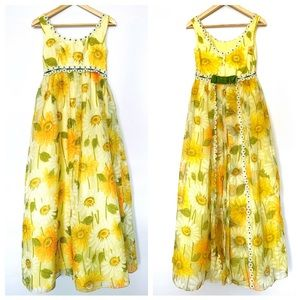Vtg 60s Montgomery Ward Organza Yellow Daisy Dress